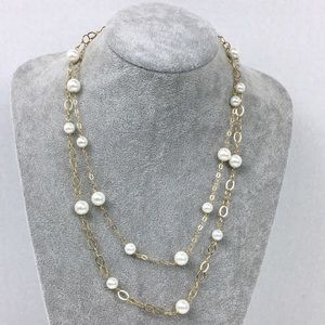 """Jewelry - Double Strand Pearl & Gold Plate Necklace 22"""""""